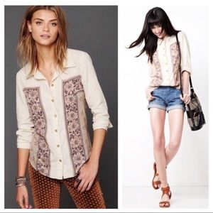 Free people top button down western floral cowgirl